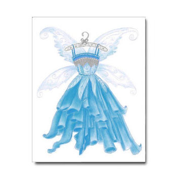 Girl Wall Art Print Princess Fairy Blue Dress, Baby Girl Nursery, Girl room Decor, Girl Nursery Decor, Girls Wall Art, Kids Nursery Decor