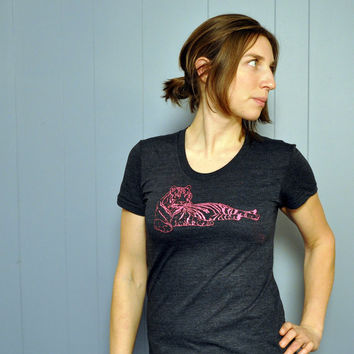 Clothing // Hot Pink TIGER Tshirt : Women's Tshirt // American Apparel Womens Tshirt S, M, L, XL