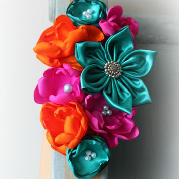 Sash - Maternity Sash - Wedding Sash - Bridesmaid Sash - Pregnancy Photo Prop in Orchid Pink, Emerald Green, and Orange Flower
