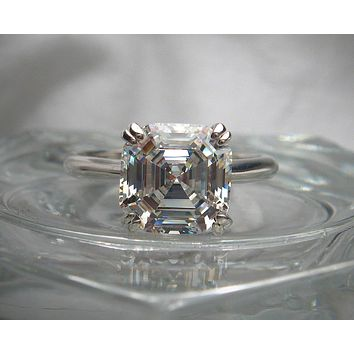 4CT Asscher Cut Solitaire Russian Lab Diamond Engagement Ring