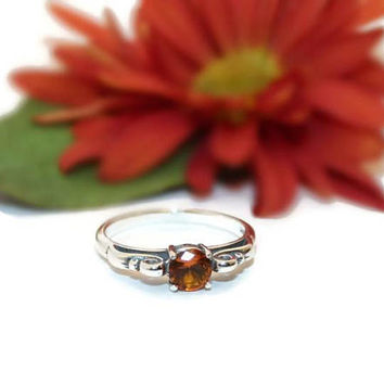 Madeira Citrine Ring, Sterling Silver Scroll Ring, 1/2 carat Citrine Ring, Noverber Birthstone Ring