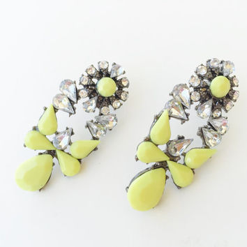 Old city Earrings - neon yellow statement earrings - bridesmaids gifts
