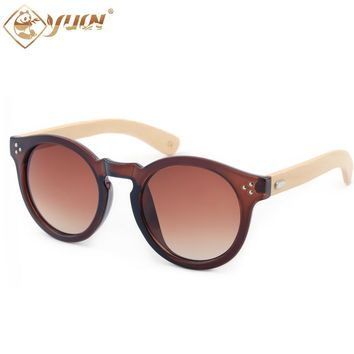 YUW Retro-Vintage Sunglasses with Handcrafted Bamboo Legs