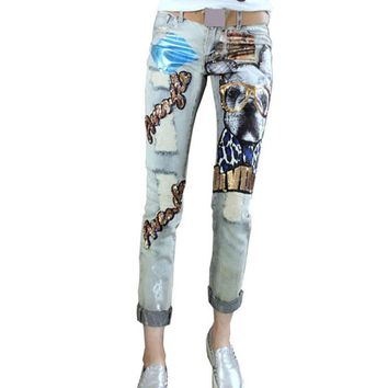 Sequined Pattern Jeans Vintage boyfriend Holes Ripped Jeans Denim Trousers Female Denim Lady Pants