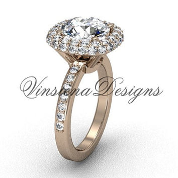 "Unique 14kt rose gold diamond engagement ring, ""Forever One"" Moissanite VD10015"