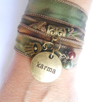 Karma Yoga jewelry Silk wrap spiritual bracelet Karma Hamsa Hand of Fatima bracelet Om Namaste bracelet Birthday Unique Gift idea under 30
