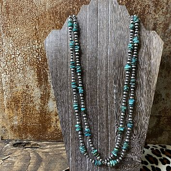 """Genuine Turquoise & Sterling Silver Navajo Bead 60"""" Necklace"""
