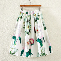 White Vintage Floral Print Midi A-Line Pleated Skirt