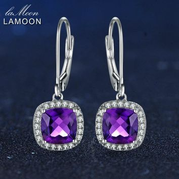 LAMOON 6mm 2.4ct 100% Natural Purple Amethyst 925 Sterling Silver Jewelry White Gold Platinum Plated Drop Earrings S925 LMEI001
