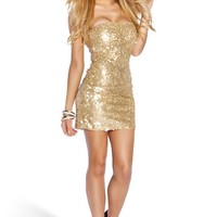 Gold Flake Sequins Mermaid Strapless Party Dress