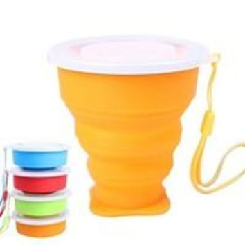 Collapsible Silicone Pop Up Cup with Lid & Strap
