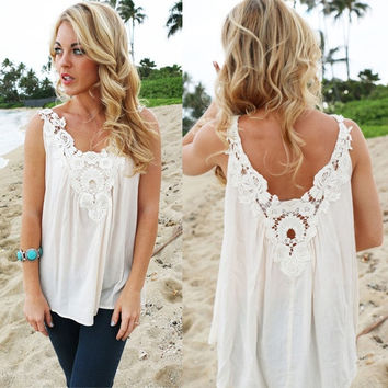 Women V Back Floral Cutwork Vest Top Sleeveless Blouse Casual Tank Tops T-Shirt = 5618638337