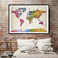 56082 - World Map Wall Art , World Map Push Pin Travel, Push Pin World Map, World Travel Map, Push Pin Map Canvas, Travel Map Canvas, Travel Map Art
