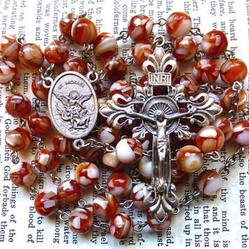 St. Micheal Rosary - Saint Rosary, Catholic Rosary, Red and White Mother of Pearl and Resin Beads, Large