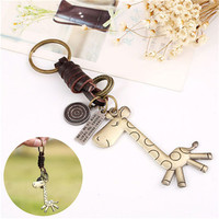 s Trendy Cute PU leather giraffe keychain creative Punk Style key chain charm alloy Accessories gift For Women SM6