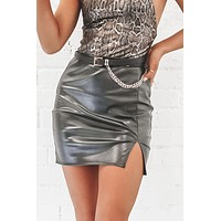Tell Me About It Stud Black Leather Skirt