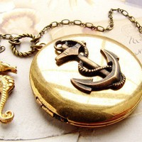 Vintage Anchor Locket Necklace, seahorse necklace - long anchor locket necklace nautical anchor seahorse necklace