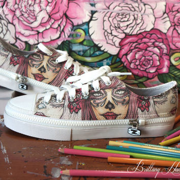 Pinky Sugar Womens Converse Shoes Pink Harajuku Tattoo Art Day of the Dead Sugar Skulls Low Tops Alternative Dark Fashion All Star