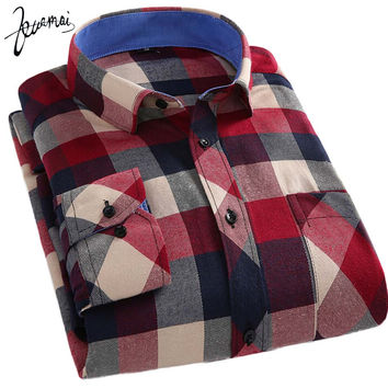 KUAMAI 2016 New Men Shirt Brand Clothing Flannel Plaid Warm Camisa Masculina Fashion Casual Men Long Sleeve Cotton Shirt XXXL