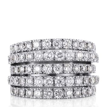 De Beers White Gold and Diamond Five Line Ring | Harrods.com