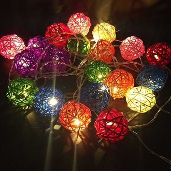 Meaningsfull 3M 20 Rattan Ball Warm White Led String Lights Battery Fairy Holiday Garland Wedding Party Bar Home Christmas Decor