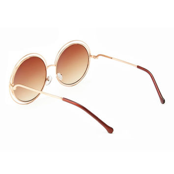 ROYAL GIRL NEW High Quality Elegant Round Wire Frame Sunglasses Women Mirror gradient Glasses shades