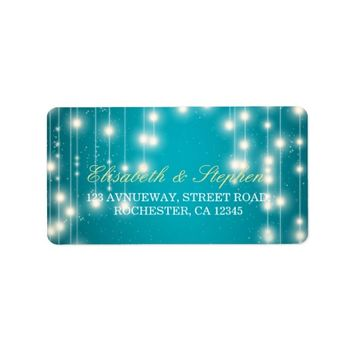 String Lights & Turquoise Glitter Wedding Address Label