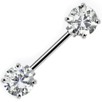 Clear Cubic Zirconia Front Gem Nipple Barbell | Body Candy Body Jewelry