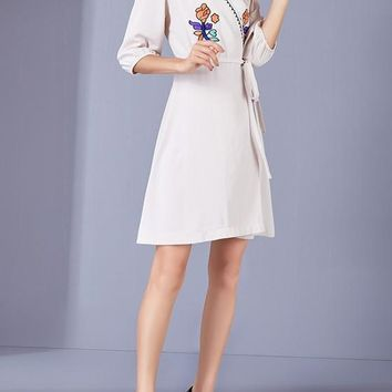 Apricot Flowers Sashes Embroidery A-Line Casual Mini Dress