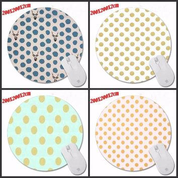 High quality Gold And White Polka Dot Fabric  Desktop Pad Mousepads Computer Animation Round Mouse Mat Round Mice Pad