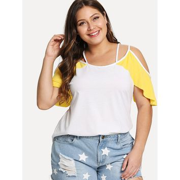 plus Two Tone Crisscross Cold Shoulder Tee