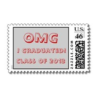 OMG I Graduated!  Class of 2013 Postage red & gray from Zazzle.com
