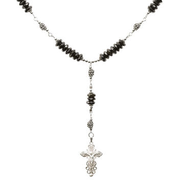 Sterling Silver 7 Sorrows Rosary Necklace Faceted Onyx 6mm, Silver Crucifix, 17""
