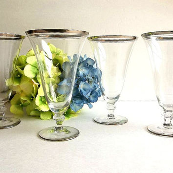 Gorgeous Vintage FOUR tall silver platinum trim glasses stem pilsner water goblets footed iced tea  silver band Mad Men Dorothy Thorpe style