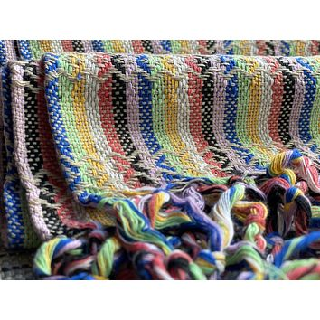 Mexican Rebozo Shawl - Light Brown Rainbow