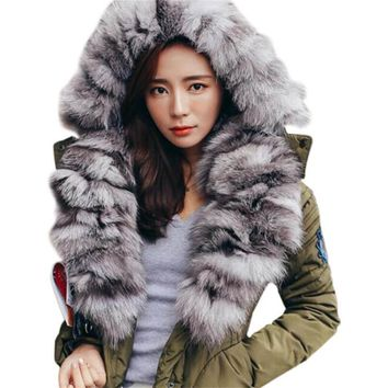 Special Offer!2017 New Winter Fur Coat Women Army Green Warm Fur Coat Thick Jacket Parka Real Fox Fur Collar Hooded Outwear