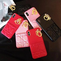 DIOR New fashion leather couple letter accessories protective cover phone case