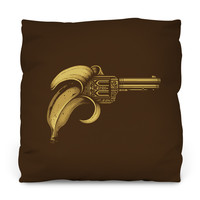 Banana Gun Outdoor Throw Pillow