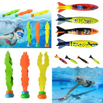 Shark Torpedo Rocket Throwing Toy Diving Game Toy Seaweed Grass Swimming Pool Accessories Underwater Dive Sticks Toys