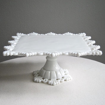 Westmoreland Milk Glass Cake Stand - Square - Petal and Ring - Wedding Cake Stand