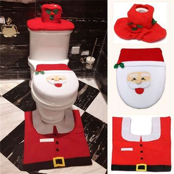 Bathroom Lip Tank Set Toilet Seat Cover WC Seat Cover Bath Mat Holder Foot Pad Cover Christmas Home Living Decor ping