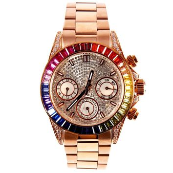 MATISSE Lady Austria Full Crystal Dial & Bezel Steel Strap Fashion Quartz Watch - Rosegold