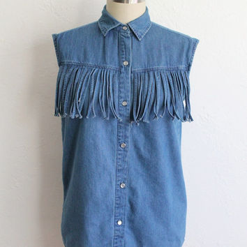 Vintage 80s Blue Denim Sleeveless Fringe Button Up // Women's Western Shirt