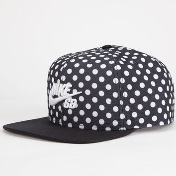 Nike Sb Polka Dot Icon Mens Snapback Hat Black One Size For Men 24885910001