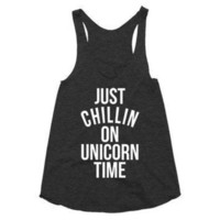 LMFUG7 Just chillin on unicorn time, racerback tank, funny, gift, unicorns are real, chilling