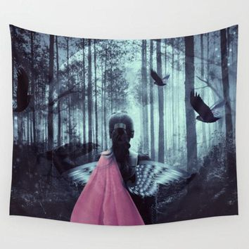 Reiki Charged Moon And Raven Lady At Night Tapestry Wall Hanging Halloween