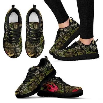 Woodland and Pink Camo Women's Tennis Shoes with Black