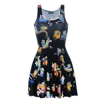 Drop Shipping 2015 New Fashion Women Summer Dress ADVENTURE TIME MONTAGE BLACK SKATER DRESS Casual Vestidos Mini Dresses