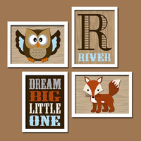 WOODLAND Boy Wall Art OWL Nursery Canvas Artwork Child Forest Fox Wood Dream Big Little One  Monogram Initial Name Set of 4 Prints Baby Crib