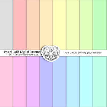 Digital Paper Pack Pastel Textured Background Patterns 16 solid colored sheets